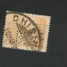 No(08)timbre-Romania 1919-L.P.73-UZUALE FERDINAND-perfin B.R- 50 bani