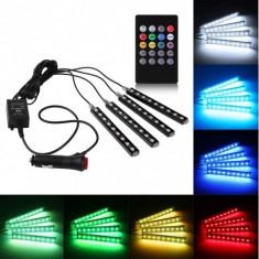 Set 4 benzi LED cu lumina ambientala auto RGB, cu telecomanda Mania