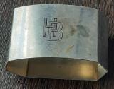 (B3) Suport servetele din argint cu monograma HB - Marcaj 800, 27.2 grame, Inel servetele