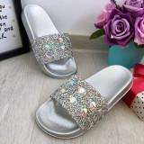 Cumpara ieftin Sandale argintii moi cu pietricele papuci cu strasuri pt fete 30 32 34 cod 0783