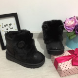 Cumpara ieftin Cizme negre imblanite cu urechi de iarna ugg pt fetite copii 29 30, Fete