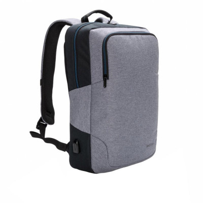Rucsac Laptop 15 inch cu port usb pentru incarcare, XD by AleXer, AA, poliester, gri, breloc inclus din piele ecologica si metal foto