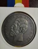 SV * Romania   5 LEI 1881 * ARGINT .835 * detalii frumoase + 2 zgârieturi revers