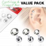 Set troch oceľových piercingov do ucha - číre okrúhle kamienky
