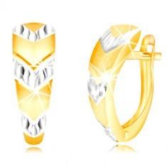 Cercei din aurr 585 - arc atipic, săgeți din aur alb