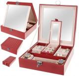 Cutie Caseta Organizatoare cu Oglinda pentru Ceasuri, Bijuterii sau Accesorii, 16 Compartimente, Visiniu