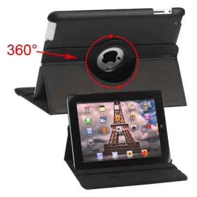 Husa Flip Cu Stand iPad 2 Piele PU Si Rotatie 360 Grade Neagra foto