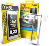 Bumper Hoda Taiwan GBO-IP6P-SL, folie de sticla fata+folie spate, pentru iPhone 6 Plus/6S Plus (Argintiu)