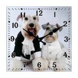 Cumpara ieftin Ceas de perete din sticla Dog Wedding 34cm Cod Produs 2114