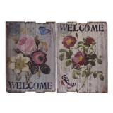 Set doua picturi vintage pe lemn cu flori SK-6, Acrilic, Avangardism