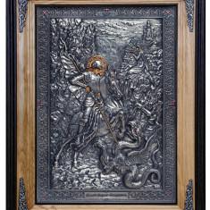 Icoane argintate, Icoana Sfantul Gheorghe, dim 52cm x 67cm, cod A-19