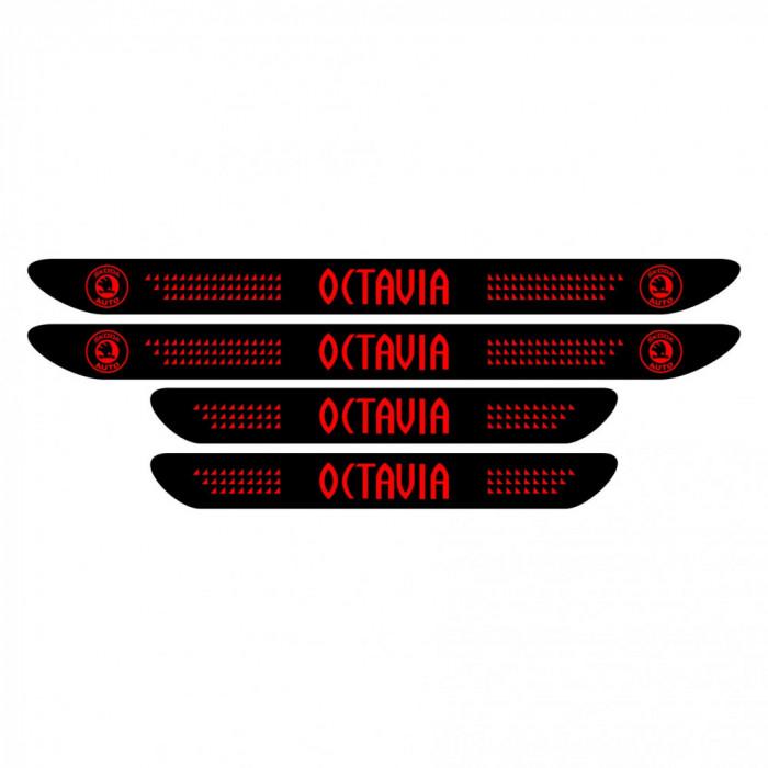 Set Stickere Auto Protectie Praguri Skoda Octavia, negru/rosu, 4buc