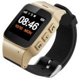 Ceas GPS Copii si Seniori iUni U100 Plus, Telefon incorporat, Display Color, Wi-fi, Buton SOS, Gold