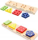 Joc puzzle lemn coloane sortatoare de forme geometrice.
