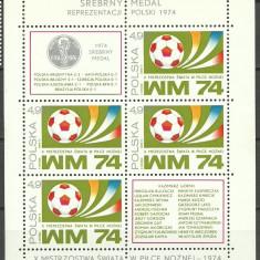 Polonia 1974 - Fotbal, medalie de argint, bloc neuzat