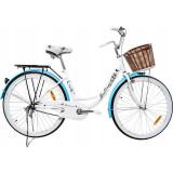 Bicicleta dama, 26 inch, cadru fara bara, otel, cos cumparaturi si motive florale, MalTrack