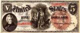 5 dolari 1880 Reproducere Bancnota USD , Dimensiune reala 1:1