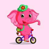 Cumpara ieftin Sticker decorativ camera copii, 100 x 100 cm, elefantica roz