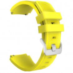 Curea silicon, compatibila Huawei Watch GT, telescoape Quick Release, 22mm, Yellow