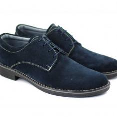 Pantofi barbati casual - eleganti din piele naturala intoarsa bleumarin - PAVELBLM