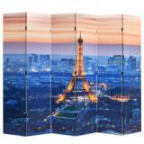 Paravan de cameră pliabil, 228 x 170 cm, Parisul noaptea, vidaXL