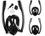 Cumpara ieftin Masca snorkeling, scuba diving pe toata fata, masura S/M, cu suport pentru camera, culoare neagra