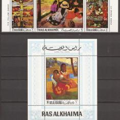 RAS AL KHAIMA PICTURA GAUGUIN ( serie + colita dantelate) MNH