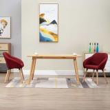 Scaune de sufragerie, 2 buc., roșu vin, material textil