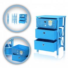 Comoda pliabila pentru copii, 3 sertare, Makika, albastru