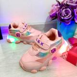 Adidasi roz cu lumini LED si scai pt fetite 20 21 23 24 25 26 27 29 30, Fete