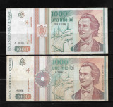 ROMANIA LOT DOUA BANCNOTE 1000 1 000 LEI , 1991 SI 1993, CIRCULATE