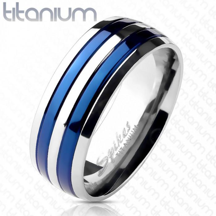 Inel din titan, cu două dungi albastre - Marime inel: 55