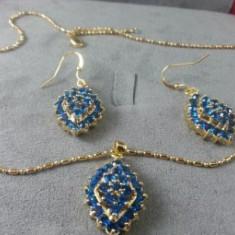 Set bijuterii Luxury Blue Sapphire placat cu Aur 18K