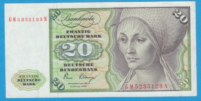 (1) BANCNOTA GERMANIA - 20 MARK 1980 (2 IANUARIE 1980)