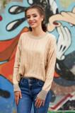 Pulover SunShine crem scurt casual cu croi larg din material tricotat cu maneci lungi decolteu la baza gatului cu aplicatii cu paiete, Bloom
