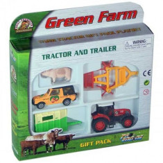 Set jucarie tractor cu remorca utilaj agricol si jeep
