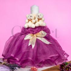 Lumanare Rochita Tulle Double Bear Purple BB-004