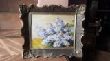 LILIAC INFLORIT -SUPERB TABLOU VECHI U/C SEMNAT