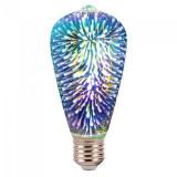 Bec LED ST64, soclu E27, 3 W, 3000 K, culoare alb cald, model 3D