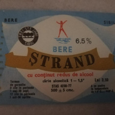 Eticheta bere Romania - STRAND - Sibiu  ( mica )  !