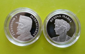 LOT 2 x 50 Bani 2019 PROOF , Moneda Regina Maria + Regele Ferdinand Romania