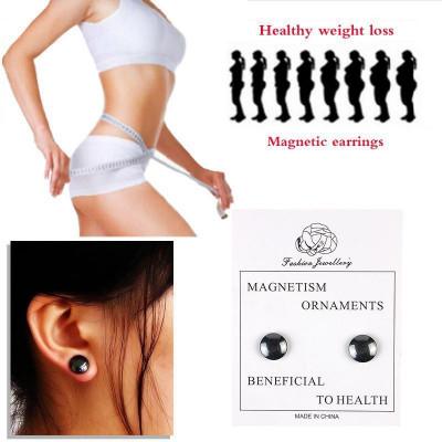 Cercei  magnetici negru pentru slabit,nu necesita gaurirea urechii 12 mm foto