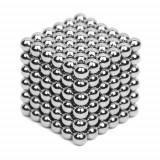 Neocube 216 bile magnetice 5mm, joc puzzle Zanox®, culoare argintie, peste 14 ani