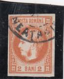 1868 LP 21 CAROL I CU FAVORITI   2 BANI  PORTOCALIU  STAMPILAT