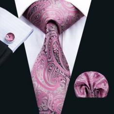 Set cravata + batista + butoni - matase naturala 100% - mov deschis