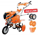 Motosapa RURIS 7500ACC1 + roti cauciuc 4.00-8 + rarita + roti metalice 350 fara manicot, 7 CP