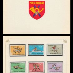 1972 Romania, Preolimpiada Munchen LP 787, carnet filatelic de prezentare