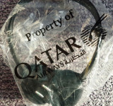 Casti audio de avion de la Qatar, Casti Over Ear, Cu fir, Mufa 3,5mm