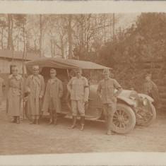 Automobil austro-ungar si ofiteri fotografie Primul Razboi Mondial