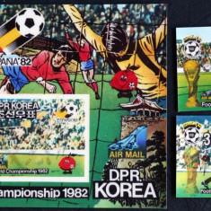 COREEA  - CAMP. MONDIAL DE FOTBAL SPANIA, 1982, 2 Valori+1S/SH,NEOBLIT.3D.-C306, Sport